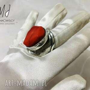 unikatowy srebrny 925 pierścionek z koralowcem rękodzieło regulowany rozmiar