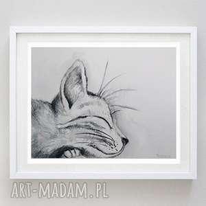 ŚPIĄCY KOTEK abstrakcja,akwarela formatu 18/24 cm, kot, akwarela, zwierzęta