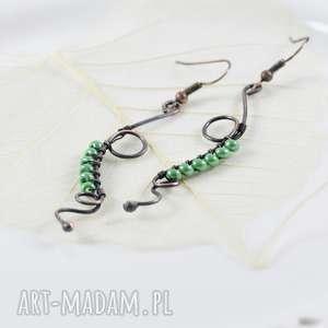 Prezent Long green - kolczyki, kolczyki-długie, z-miedzi, retro-kolczyki