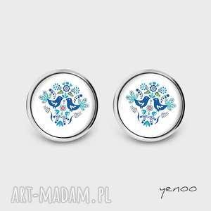 kolczyki kolczyki - folkowe ptaszki, niebieskie - sztyfty, grafika