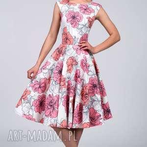 Sukienka SCARLETT Midi Rozetka, midi, plecy, rozkloszowana, koło, kwiaty, urocza