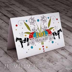 kartki wóz pełen jaj karteczka wielkanocna, kartki, świąteczne, okolicznościowe