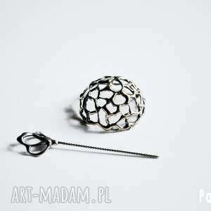 srebrna broszka - srebro, rękodzieło, handmade, broszka, wosk, spinka