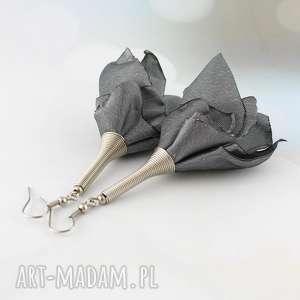 lume handmade kolczyki silk szare, kolczyki, długie, wiszące, lekkie, materiałowe