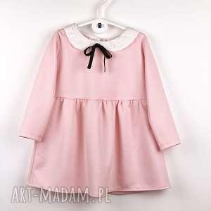 Sukieneczka z aksamitką pudrowy roz, aksamitka, koronka