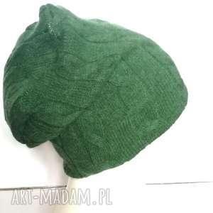 czapka zielona wełniana na brązowej cienkiej podszewce, unisex,