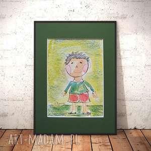 obrazek z chłopczykiem, rysunek chłopcem, obraz dla chłopca, do pokoju