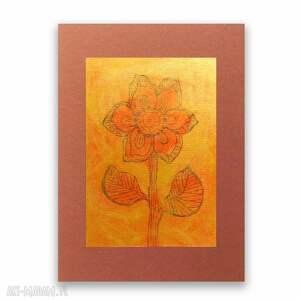 kwiat rysunek, grafika w ciepłych kolorach, nowoczesny obrazek, minimalizm obrazek