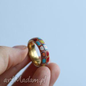 Zamówienie Pani Doroty, kolorowe, tęczowe, obrączka, pierścionek, stal, geometryczne
