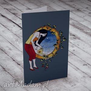 kartki szczęście karteczka na życzenia, kartki, szczęście, kobieta