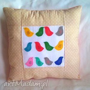 poduszka z filcowymi ptaszkami, poduszka, poducha, ptaki, ptaszki, prezent, wiosna