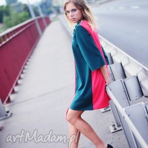 UNIKAT !!! sukienko-tunika ASYMETRYCZNA, tunika, asymetryczna, koralowa, jesień