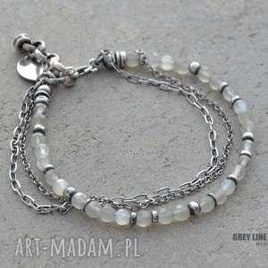 bransoletka z szarego kamienia księżycowego, srebro, kamień, księżycowy