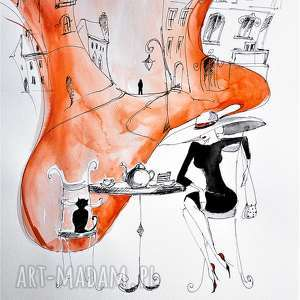 praca akwarelą i piórkiem kreacja przy kawie artystki adriany laube, kot, akwarela