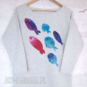 RYBY Bluzka bawełniana szara z nadrukiem S/M, bluzka, bluza, nadruk, ryby,