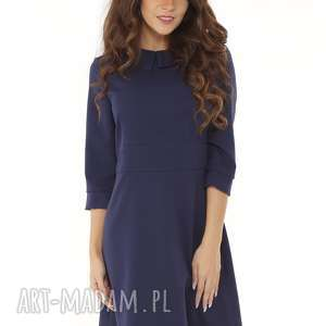Elegancka sukienka z kołnierzykiem granatowa 010 sukienki ella