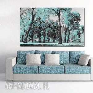 obraz drzewo 29 miętowe - 120x70cm do salonu lub sypialni mięta, obraz, las, drzewa
