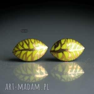 magda lysiak złote listki, złote, liść, wzór, wkrętki, sztyfty, ceramika, oryginalny