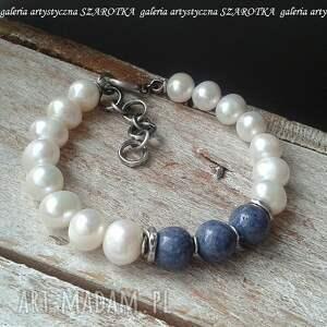 klasyka na luzie bransoletka z naturalnych pereł, korala niebieskiego i srebra