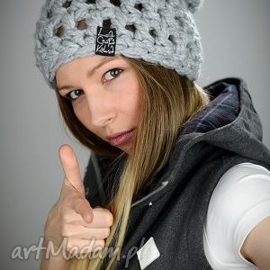 czapka fatty 01 - jasna szara, zimowa, na zimę, szydełko