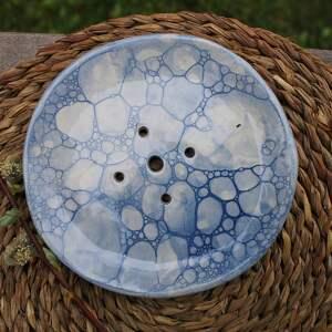 ceramika ceramiczna niebieska okrągła mydelniczka, mydelniczka, akcesoria