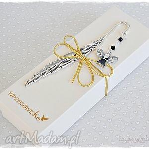 zakładki anielska zakładka w pudełeczku, zakładka, swarovski, anioł, prezent