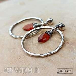 kolczyki koła - srebro i pomarańczowy kianit - komplet prezent
