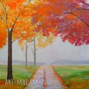 obraz na płótnie - jesień i 50/40 cm, jesień, pomarańcz, akryl, obraz, czerwień