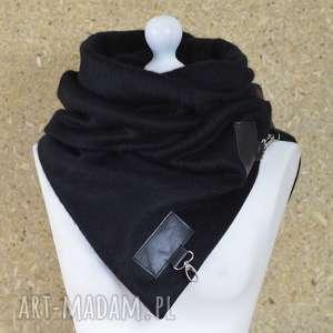 handmade szaliki szal wełniany ze skórą, komin włochaty -czarny