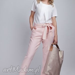 spodnie, sd109 róż, kokarda, pasek, różowe, kieszenie