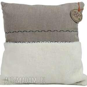 dizzydot poduszka naturalna z haftem, skandynawska leaf, dekoracyjna