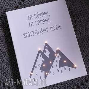 Prezent ŚWIECĄCY OBRAZ LED prezent ślub rocznica góry skandynawski styl szary,