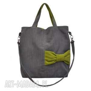 22-0015 Szara ekskluzywna torebka damska z kokardą JAY ONE, duże-torebki-damskie