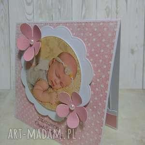 kartka/zaproszenie kwiatuszkowe zdjęcie, zaproszenie, kwiatek, chrzest