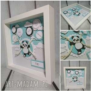 metryczka - panda w mięcie, metryczka, panda, urodziny, chrzest, narodziny