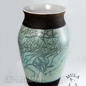 wazon turkus biały raku, wazon, suszki, kwiaty, dom, ceramika
