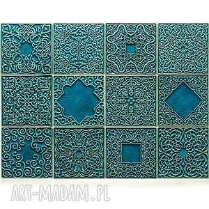 Kafle dwanaście ornamentów kolor turkus no 2 ceramika