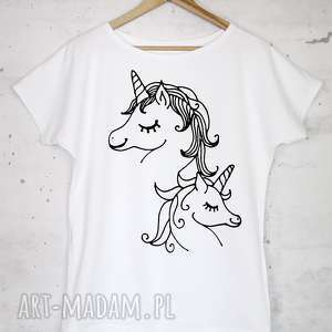 JEDNOROŻCE koszulka bawełniana biała z nadrukiem S/M, bluzka, koszulka, nadruk