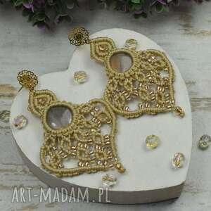 eleganckie, ażurowe kolczyki z labradorytami - beż i złoto, labradoryt