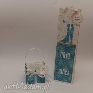 hand-made scrapbooking kartki komplet kartka przestrzenna torebka na wino
