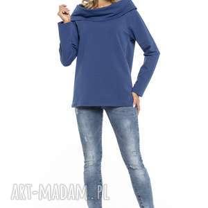 Bluza z szerokim kominem, T255, chabrowa, bluza, szeroki, komin, dzianina,