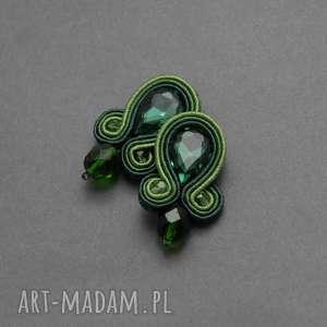 zielone kolczyki sutasz, sznurek, eleganckie, wiszące, wieczorowe, długie