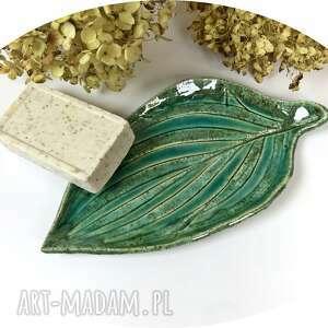 ceramiczna mydelniczka/spodeczek green leaf, polskie rzemiosło, polska ceramika