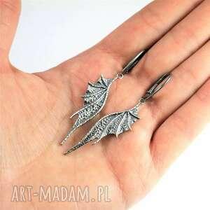 długie kolczyki smocze ze srebra, smocze, skrzydła