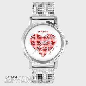 ręczne wykonanie zegarki zegarek, bransoletka - serce pikselove