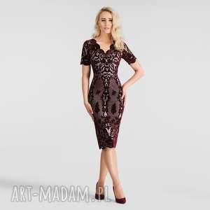 sukienki doris midi nikoletta bordo podkład różowy, sukienka, wieczorowa