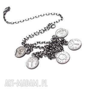 Numizmaty /choker/ - naszyjnik, srebro, monety, choker, krótki