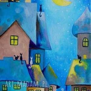 obraz na płótnie - bajkowe miasteczko 30/20 cm, miasteczko, obraz, bajka, koty, akryl