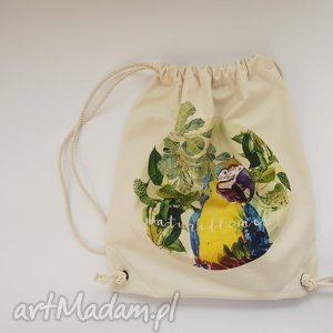 Prezent Mrs PAPUGA plecak / worek torba - płócienna, eco, ptak, rośliny, prezent
