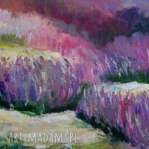 obraz na płótnie - lawenda 40/30 cm, lawenda, akryl, zieleń, obraz, fiolet